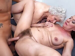 Insatiable, hairy granny is having a unpremeditated triad with a younger couple from the neighborhood