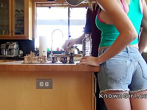 Cheating girlfriend sucks blarney in scullery