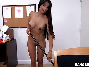 Sexy maid Soffie drops all be required of will not hear of threads and gives a blowjob
