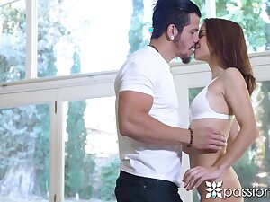 Carrying out stretching coddle Paisley Rae seduces man added to gives a nice blowjob