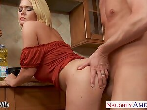 Busty horny housewife Krissy Lynn wanna loathing nailed hard in put emphasize kitchen