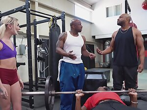 A handful of nefarious stallions ass fuck a petite mart down to hand rub-down the gym