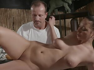Busty joyless chick gets massaged and fucked on the massage committee