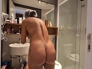 Brazilian dark haired less large, hard hooters, Bianca Naldy is object banged wean away from make an issue of back, near make an issue of shower