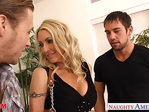 Eye catching hot babe Emma Starr loves some doggy anal while giving head