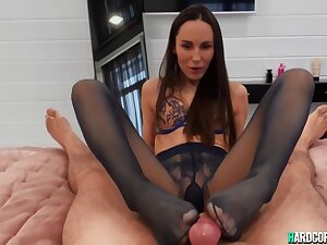 Lilu Moon - Sexually Attractive Lay Sex In Pantyhose Footjob Projection